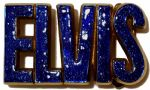 Elvis Letters Blue Glitter on Solid Brass Belt Buckle + display stand. Product code: DB8